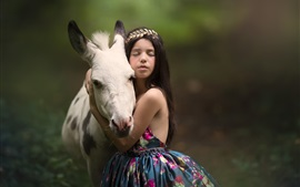 Preview wallpaper Child girl and horse, friendship