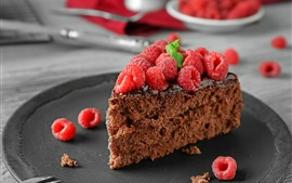Chocolate cake, piece, raspberries