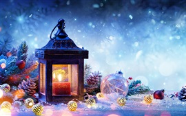 Christmas decorations, spruce, snow, lamp, balls, New Year