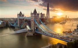 Preview wallpaper City, London, Tower Bridge, river, sunset