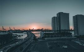 City, dusk, bridge, cars, buildings, river