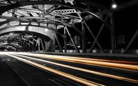 City, night, bridge, light lines