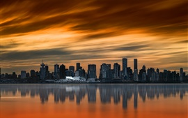 City, sunset, skyscrapers, river, Vancouver, Canada