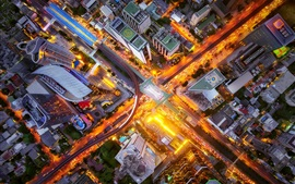 Preview wallpaper City top view, crossroads, street, buildings, lights, night