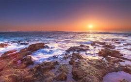 Costa, mar, agua, puesta de sol