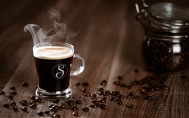 Coffee, glass cup, steam