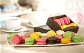 미리보기 배경 화면 다채로운 마카롱, 음식, 상자