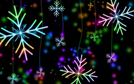 Preview wallpaper Colorful snowflakes, lights, glare
