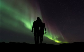 Preview wallpaper Couple, lovers, silhouettes, starry, northern lights