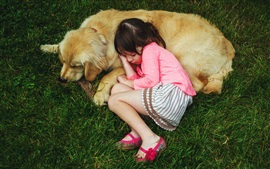 Preview wallpaper Cute child girl and dog sleeping on grass