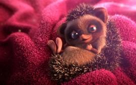 Preview wallpaper Cute hedgehog, 3D rendering