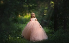 Preview wallpaper Cute little girl, pink skirt, forest