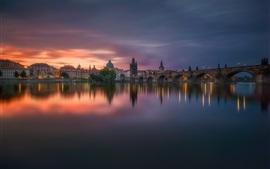 Чехия, Прага, вечер, река, дома, фары