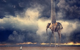 Preview wallpaper Desert, clouds, monster, pipe, creative design