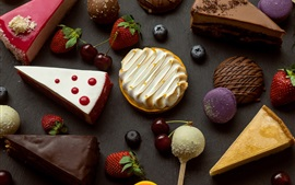 Postre, tarta de pastel, fresa, cereza