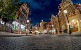 Disneyland, cidade, noite, rua, lojas, luzes