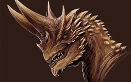 Preview wallpaper Dragon, horns, fangs, art picture
