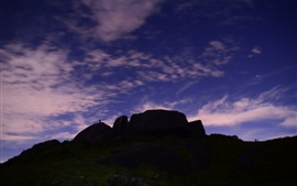 Anoitecer, colina, céu, nuvens