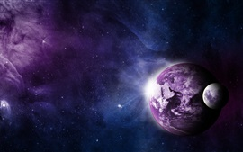 Earth, moon, universe, purple style