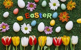 Easter, flowers, tulips, daisy, grass, eggs, colorful