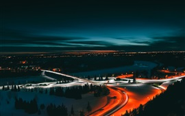 Edmonton, Canada, roads, light lines, river, night, city