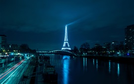 Eiffel Tower, river, bridge, road, illumination, night, Paris, France