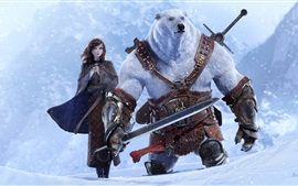 Preview wallpaper Epic Quest, girl and bear, snow