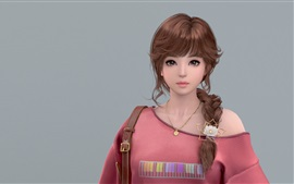 Preview wallpaper Fantasy Asian girl, brown hair, braid