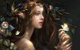 Aperçu fond d'écran Fille fantastique, fleurs, papillon