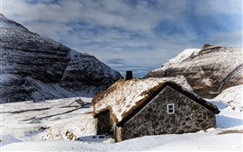 Faroe Islands, Saxon, house, snow, winter, mountains