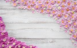 Preview wallpaper Flowers, pink petals, water drops, wood board
