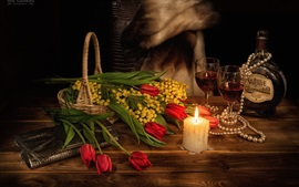 Flowers, red tulips, candle, flame, wine, romantic