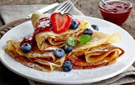 Preview wallpaper Food, pancakes, sugar powderful, blueberries, jam