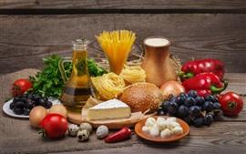 Comida, verduras, queso, huevos, pan, fideos, tomate, aceite