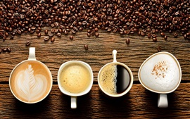 Preview wallpaper Four cups drinks, coffee beans, cappuccino