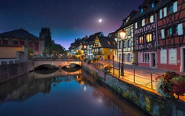 France, Colmar, river, bridge, houses, lights, night