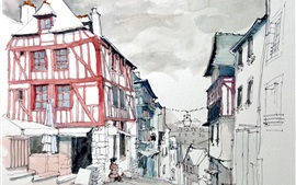 Preview wallpaper France, Dinan town, watercolor painting