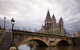 Francia, Metz, río, puente, casas
