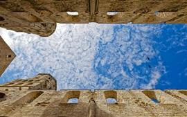 Francia, arquitectura, cielo azul, nubes, vuelo de pájaros