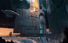 Preview wallpaper Futuristic, fantasy, spaceship, building, waterfall, art picture