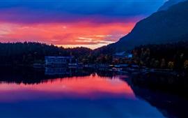 Aperçu fond d'écran Allemagne, Bavière, lac, bâtiments, ville, coucher de soleil