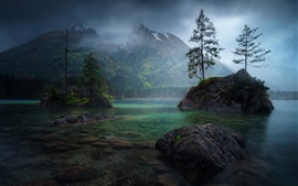 Preview wallpaper Germany, Bayern, lake, mountains, trees, stones