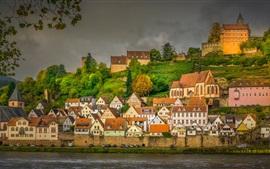 Germany, Neckar River, houses, trees, dusk