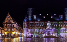 Germany, Quedlinburg, night, houses, wet ground