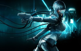 Preview wallpaper Ghost in the Shell, girl, gun