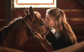 Girl and horse, kiss, friendship