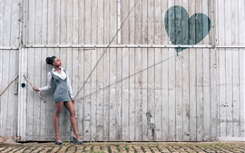 Preview wallpaper Girl and love heart balloon, wood wall, creative