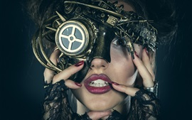 Preview wallpaper Girl, face, mask, steampunk