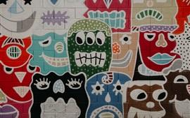 Pared de graffiti, cara, pintura de arte