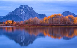 Preview wallpaper Grand Teton National Park, USA, water reflection, mountains, trees, lake, autumn